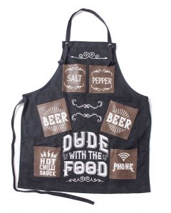 MANS CANVAS APRON - DUDE WITH FOOD